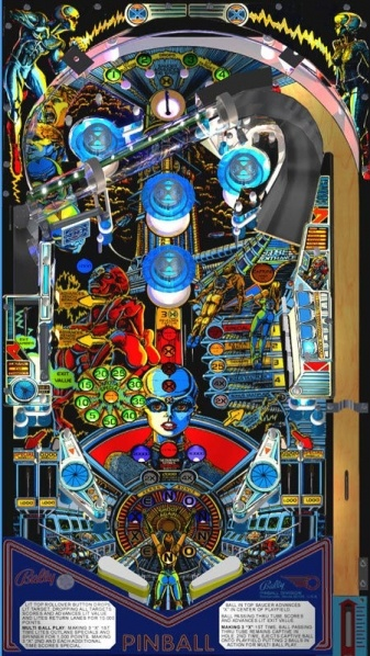 Pinball game in game room