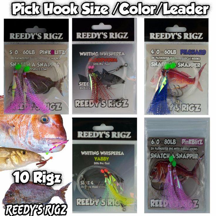 10 Snapper Snatchers Rigs Whitting Flasher Fishing Rigged 30lb 60lb 80lb