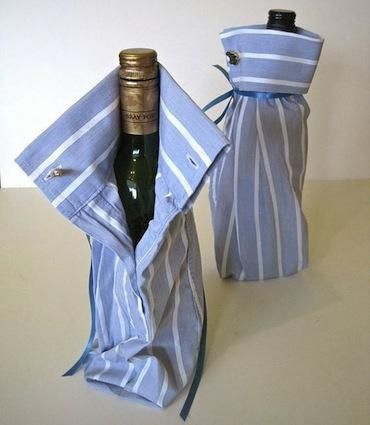 DIY wine bag.  Maybe not for him - maybe just steal his old shirts!!!