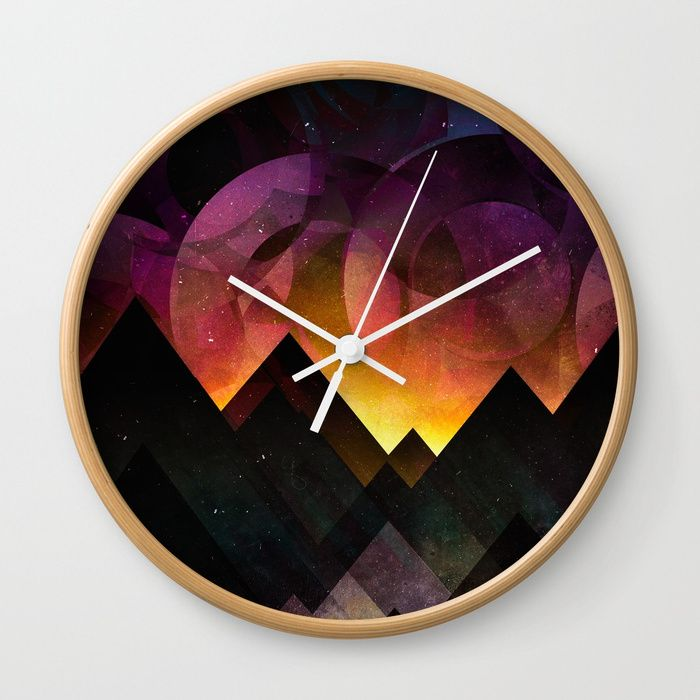 Whimsical mountain nights Wall Clock by HappyMelvin | Society6