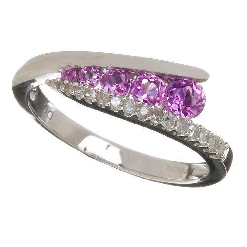 Mogul PR07812(L) – Anillo de mujer de oro blanco (9k) con topacios rosas y diamantes (talla: 12) | Your #1 Source for Jewelry and Accessorie...