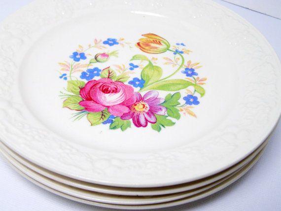 Floral Homer Laughlin Plates 4  Eggshell Theme by LorettasCache
