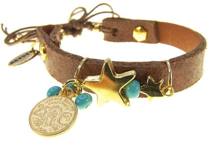 Bruine Lederen Armband Goudkleurige Ster & Muntje