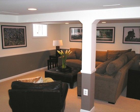 hiding the ducts and pole traditional basement small basement remodeling ideas design pictures remodel - Finished Basement Design Ideas