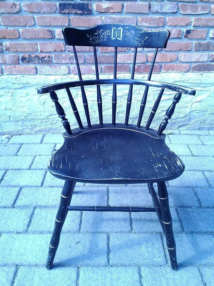 Good Vintage Black Nichols U0026 Stone Windsor Chair, Gardner Massachusetts
