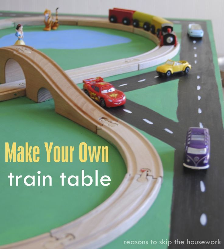 Make your own DIY train table that can slide under the bed when you're done with it!