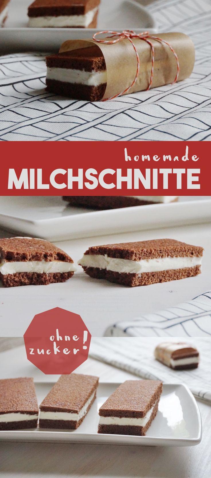 Milchschnitte ohne Zucker: einfach selbermachen! Gelingt auch als Eis-Sandwich! Toller Snack für Kinder.