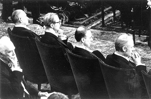 1962 Nobel Prize Ceremony - Steinbeck, Wilkins, Watson, Crick by CSHL Archives, via Flickr