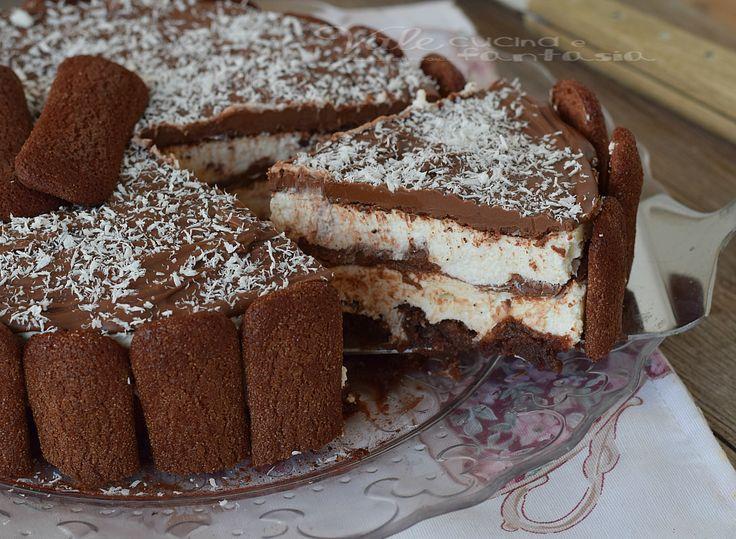 Torta di pavesini al cacao con crema al cocco - da fare con altri biscotti e ganache!