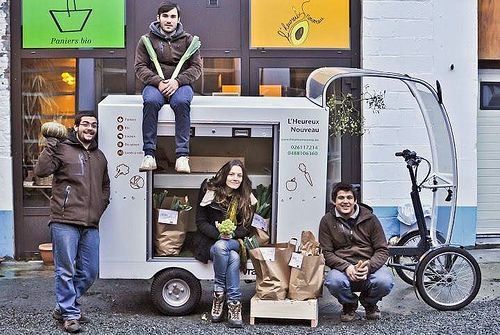 One of the first Vrachtfiets Cargos at work delivering groceries in Brussels, BE.
