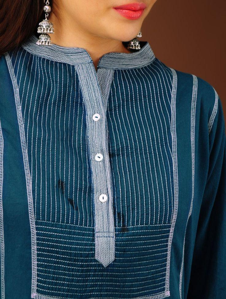 Buy Indigo Pin Tuck Yoke Cotton Tunic Apparel Tunics & Kurtas Online at Jaypore.com