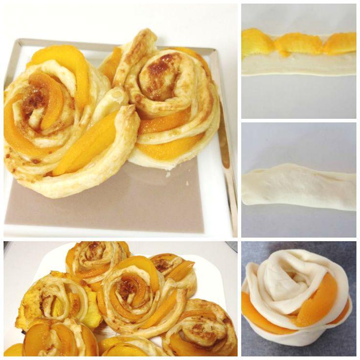 Pasta sfoglia e pesche. Puff pastry and peaches