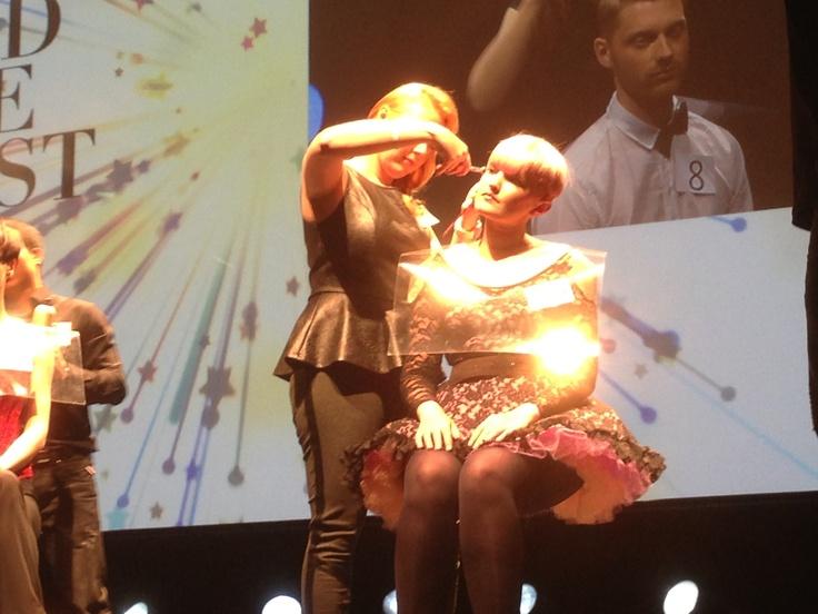 The 2013 World Style Contest 'Best Stylist', Christilene Erasmus, at work on stage at Folies Bergere!! #wwht2013 #davines #paris