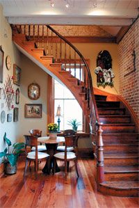 Creole cottage curved staircase.