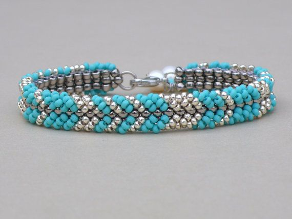 Ocean blue everyday bracelet - gift for her - summer beach bracelet - beaded seed bead bracelet - turquoise blue beadwork bracelet