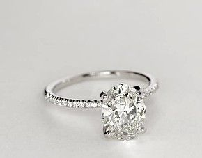 perfect. Petite Micropavé Diamond Engagement Ring in 14k White Gold (1/10 ct. tw.)