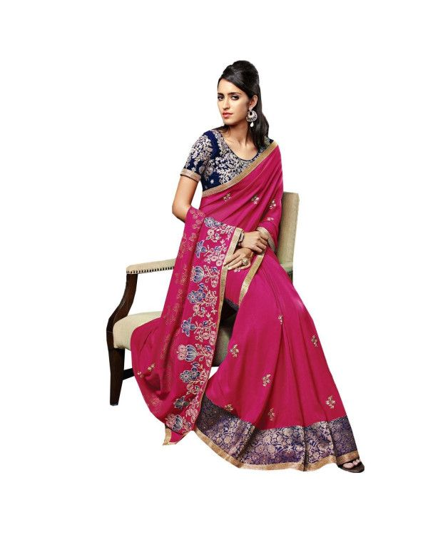 Pink Resham Embroidery Saree Check out all the details of this product here: http://www.ethnicstation.com/pink-resham-embroidery-saree-vl1710  #ReshamEmbroideredSaree  #CashOnDelivery