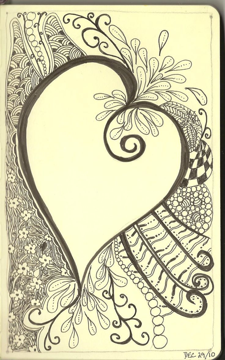 heart zentangle coloring pages - photo#38