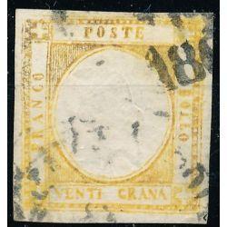 1861-62 PROVINCE NAPOLETANE 20 gr. GIALLO ARANCIO F11 FALSO D' EPOCA US.