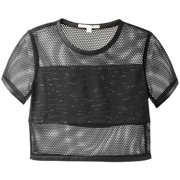 Jonathan Simkhai Black Fishnet Paneled Cropped Top (€325) ❤ liked on Polyvore featuring tops, shirts, crop tops, t-shirts, jonathan simkhai, short-sleeve shirt, fishnet crop top, short sleeve tops and short sleeve crop top