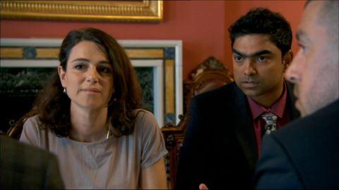 BBC Apprentice Aleksandra King and Karthik - Alexandra wasn't enjoying the process (Picture: BBC)