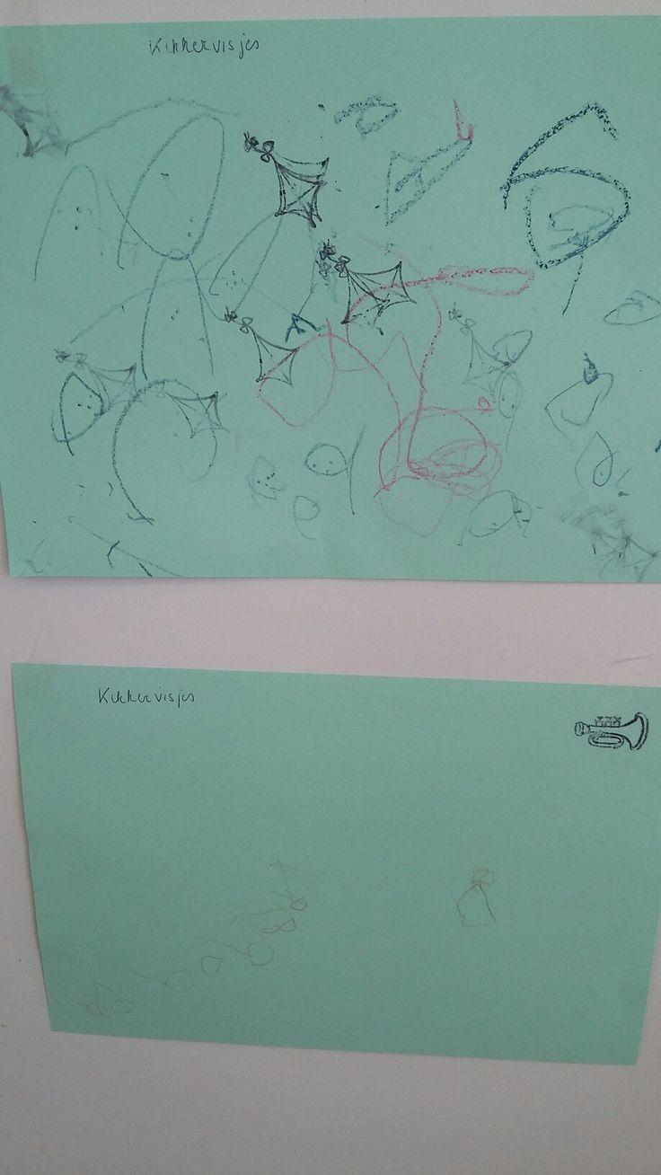 Kikkervisjes tekenen na waarneming. Driejarigen kunnen dit.