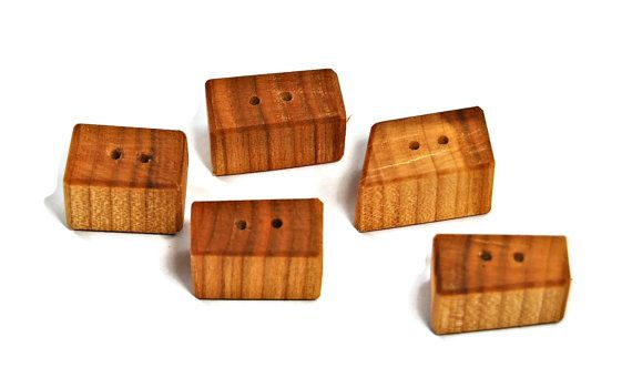 Wooden Buttons Wood Buttons Set of 5 Artisan by Scandicreations
