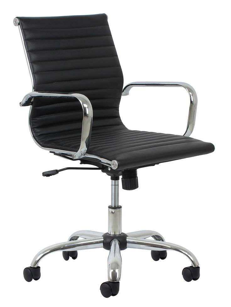 Essentials Soft Ribbed Leather Executive Conference Chair with Arms - Ergonomic Adjustable Swivel Chair, Black/Chrome (ESS-6090)