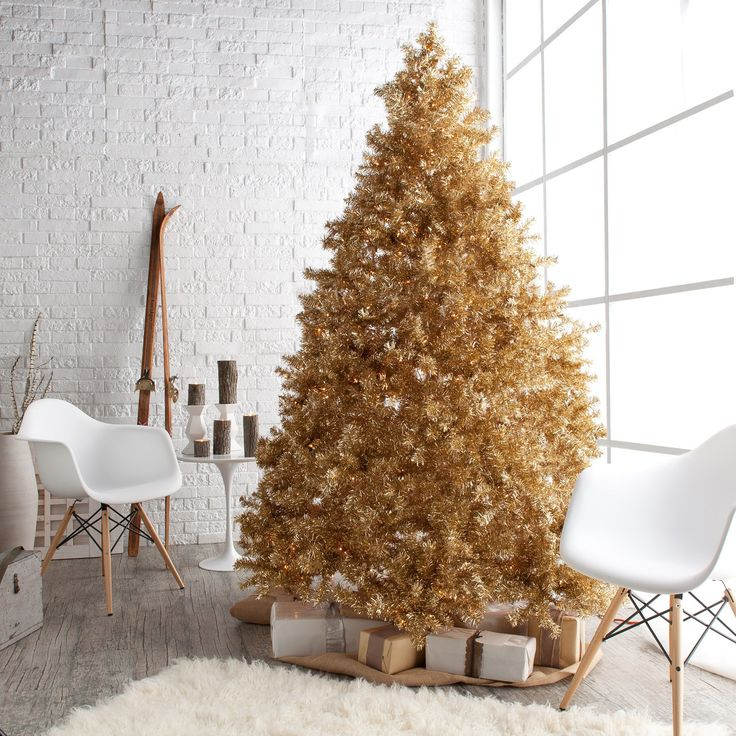 Impressive Design Pre Lit Christmas Trees For Beautify Your Christmas Holiday: Gold Pre Lit Christmas Trees Design Ideas With Interior Furniture Chair Viewing Gallery