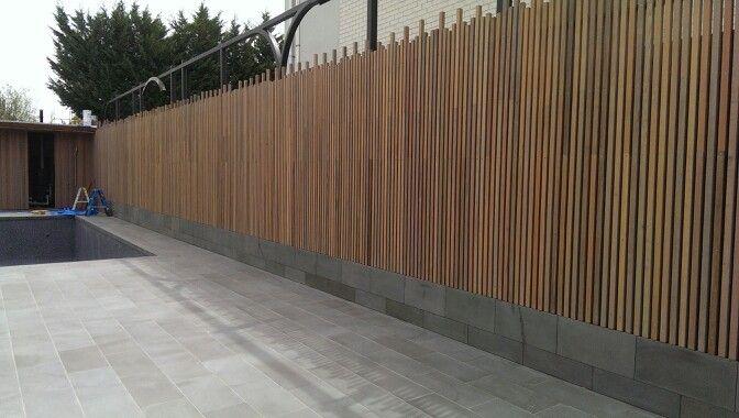 cedar batten fence stained