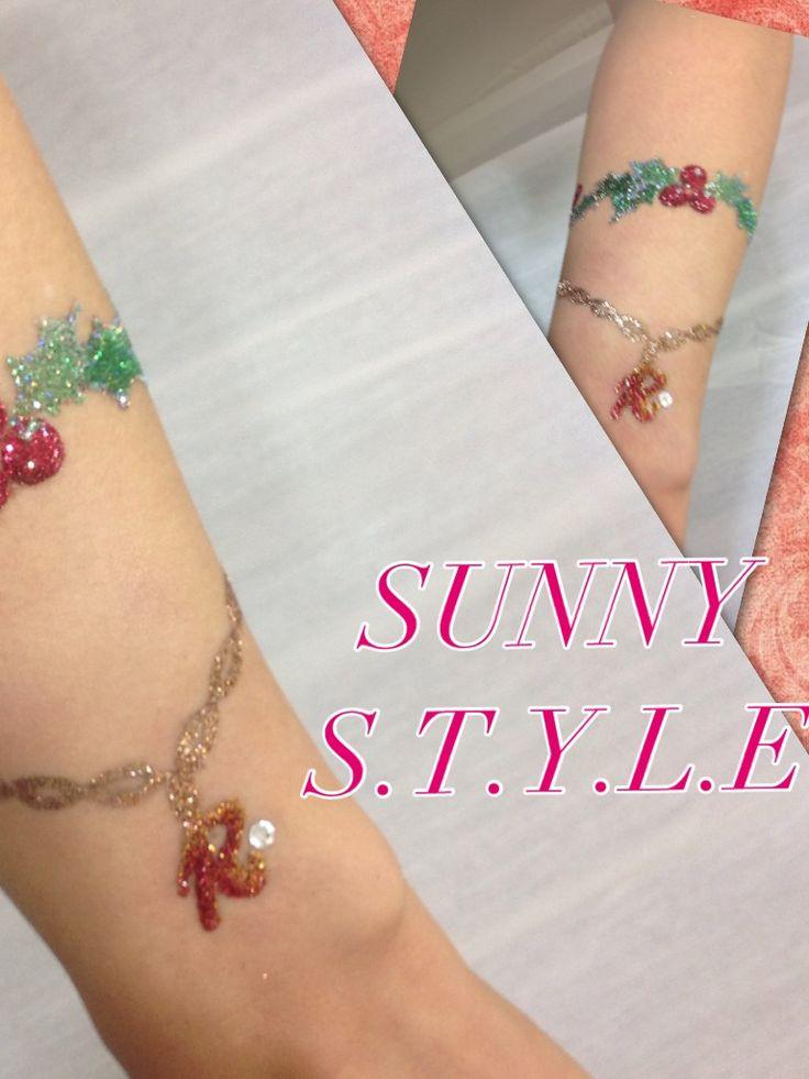 SUNNY S.T.Y.L.E お客様アート  イニシャルブレスレット風アート&Xmasリースブレスレット風アート