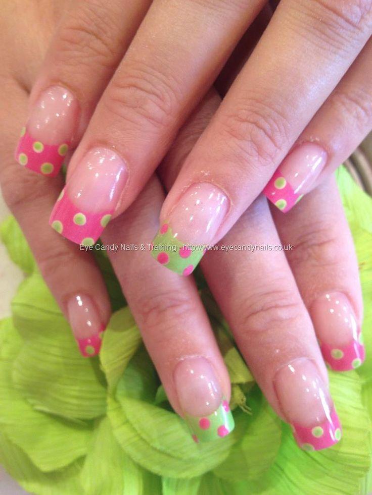 Lime green and pink polka dot nail art on acrylic overlays