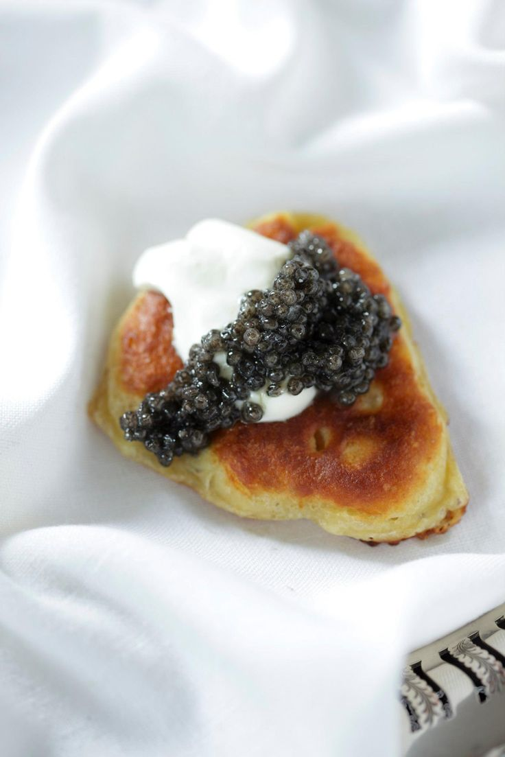 Blinis and Russian Caviar   #caviar #luxury #food #snacks
