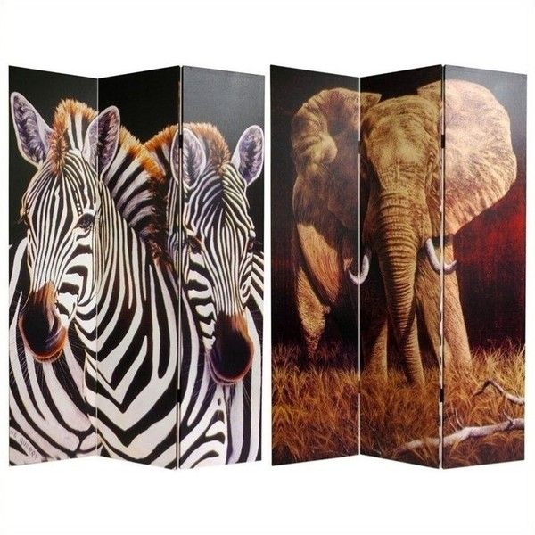 Oriental Double Sided Elephant and Zebra Canvas Room Divider ($129) ❤ liked on Polyvore featuring home, home decor, panel screens, oriental room dividers, asian sculptures, zebra home accessories, beach home decor and oriental home decor
