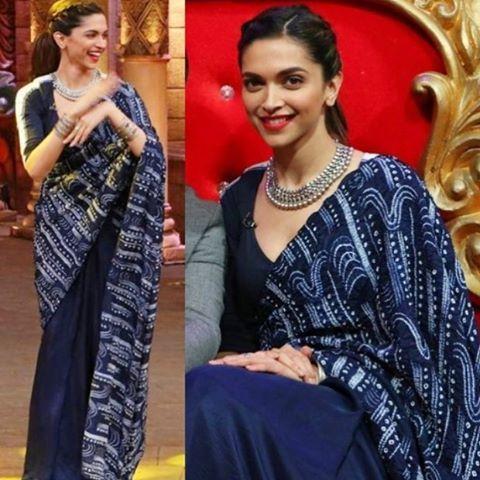 Deepika in a gorgeous Anamika Khanna saree! A match made in fashion heaven! Shop the designer at Elan #anamikakhanna #celebritystyle #shibori #fashiondrape