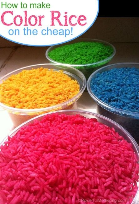 How to make color rice on the cheap with PowerfulMothering.com #toddler Could do red white and blue for 4th of July