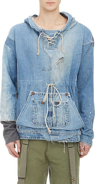 Greg Lauren Distressed Patchwork Denim Hoodie - Pullover - Barneys.com