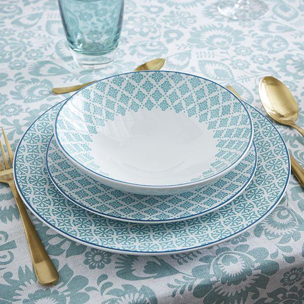 Gamme d'assiette Helyse #zodio #tendance #décoration #vaisselle #bleu #millefiori