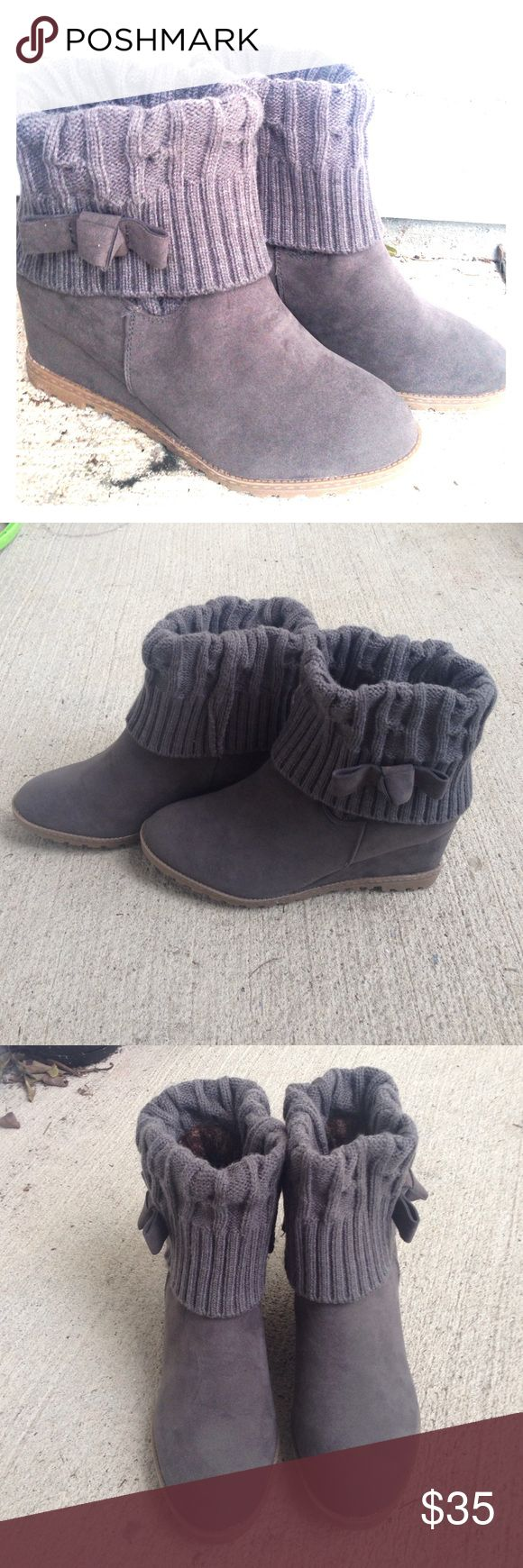 Wedge Boots Beautiful grey wedge boots Brand new never worn, actual size is 8.5 but they feel like 8 Maurices Shoes Ankle Boots & Booties