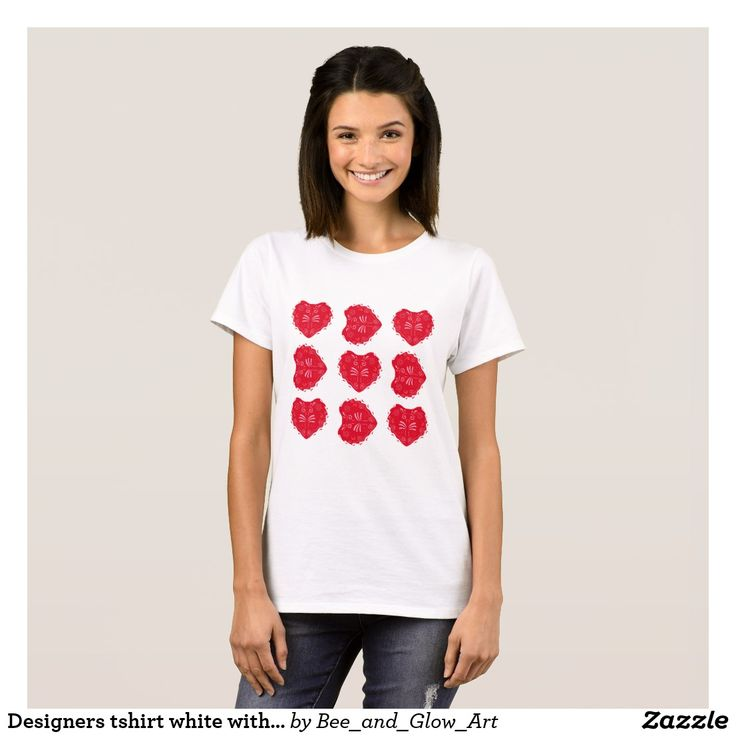 Designers tshirt white with Folk red hearts