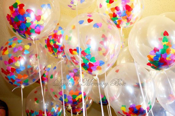 Set of 12  Clear Confetti-Filled Balloons / Heart Confetti Balloons/ Biodegradable latex Ballons