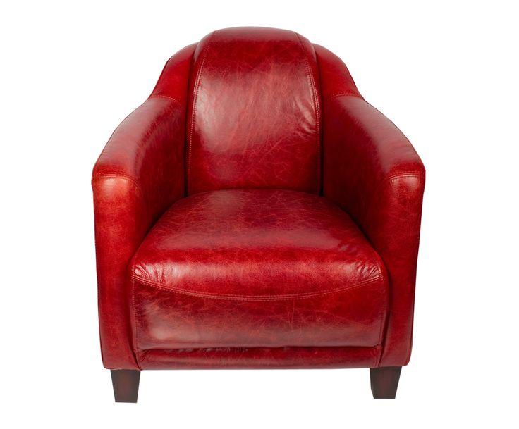 Шикарное кожаное кресло ярко-красного цвета однозначно сделает любую комнату ярче.             Метки: Кресла для дома, Кресло для отдыха.              Материал: Дерево, Кожа натуральная.              Бренд: American Interiors.              Стили: Лофт.              Цвета: Красный.