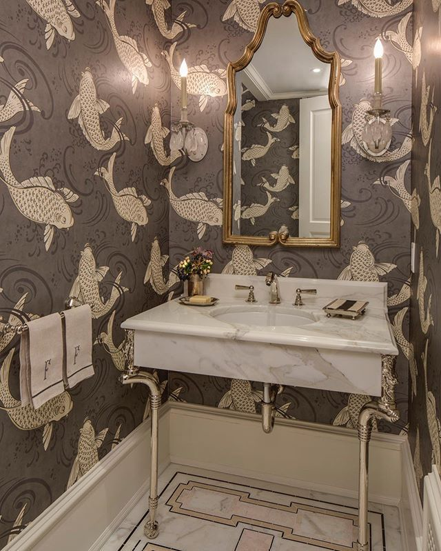 Powder room envy starts with Koi wallpaper and custom marble mosaic floors by @marksandfrantz.