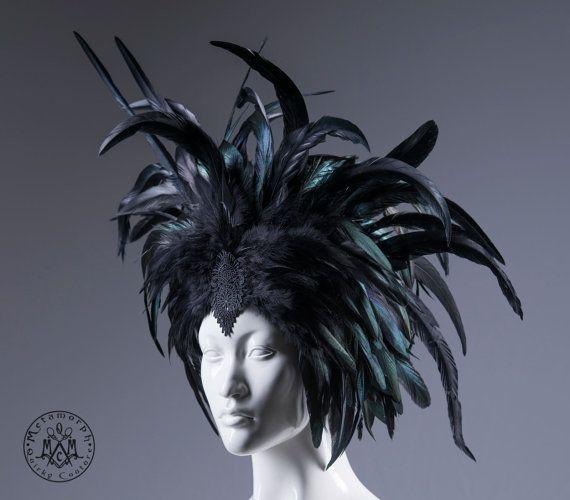Schwarzer Federschmuck / Feder Krone / Headpiece von MetamorphQC
