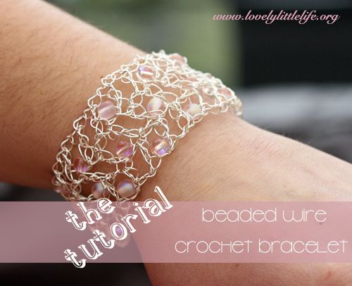 Crochet Wire Bracelet step by step photo tutorial
