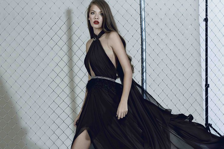 Black silk gown with feathers from our Fall/Winter collection: http://manuri.ro/product/manuri-bianca-gown/