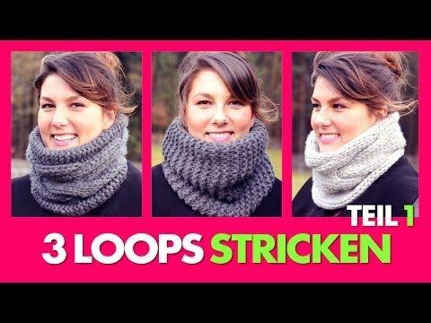 ▶ 3 Loopschals stricken - Vorbereitung & 1.Variante *TEIL 1* - YouTube