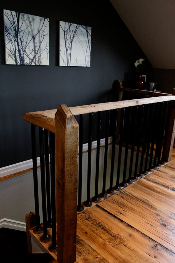 Steel Pipe Spindles Hemlock Floor Boards Solid Beam Hand Rail For The Home Pinterest