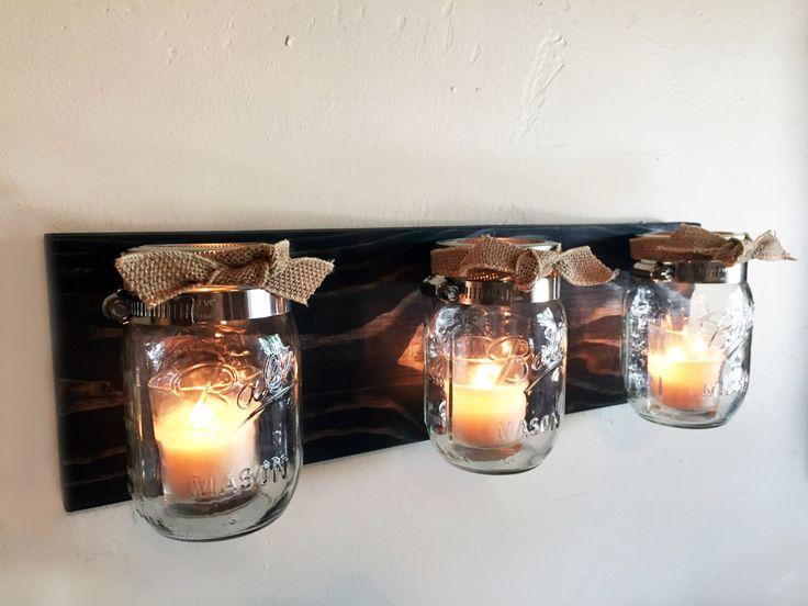 Mason Jar Organizer, Mason Jar Storage, Bathroom Organizer, Rustic Wall Sconce, Rustic Candle Holder, Rustic Wall Decoration Mason Jar Decor by KrohnDesigns on Etsy https://www.etsy.com/listing/237551575/mason-jar-organizer-mason-jar-storage