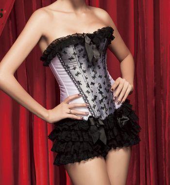 3pc corset & ruffle panty